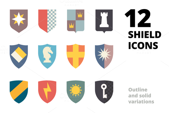 12 Shields Icons