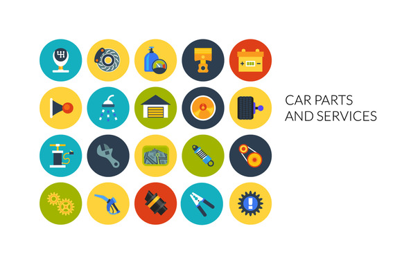Flat Icons Set Car And Services