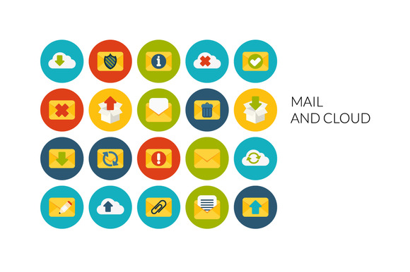 Flat Icons Set Mail And Cloud