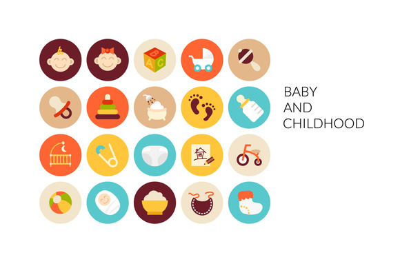 Flat Icons Set Baby And Childhood
