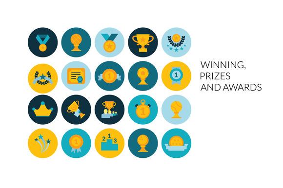 Flat Icons Set Prizes Awards