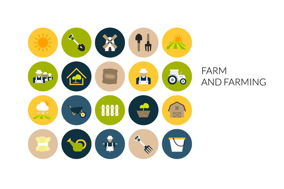 Flat Icons Set Farm And Farming