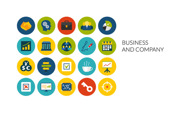 Flat Icons Set Business Company