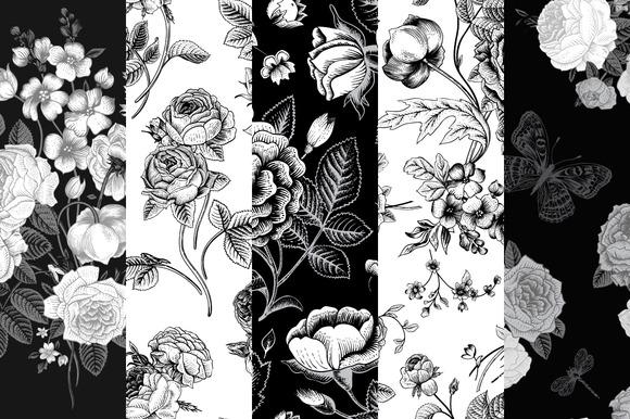 Set Of Vintage Floral Pattern B W
