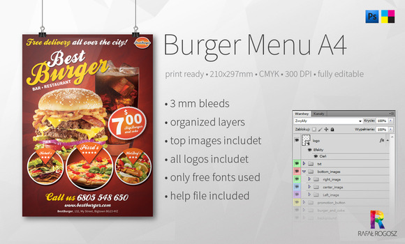 Burger Menu A4 Flyer
