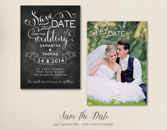 Save The Date Card Template 5x7
