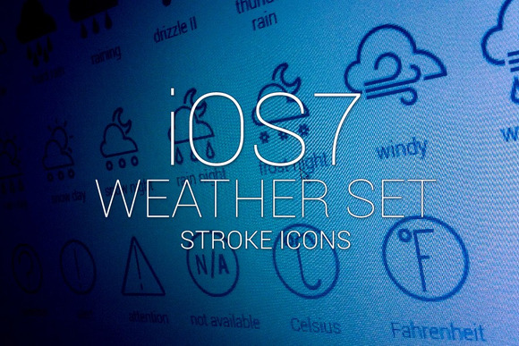 IOS 7 Weather Stroke Icons Set