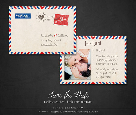 Premade Postcard Save The Date Card