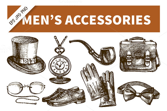 Hand Drawn Men S Accessories Set