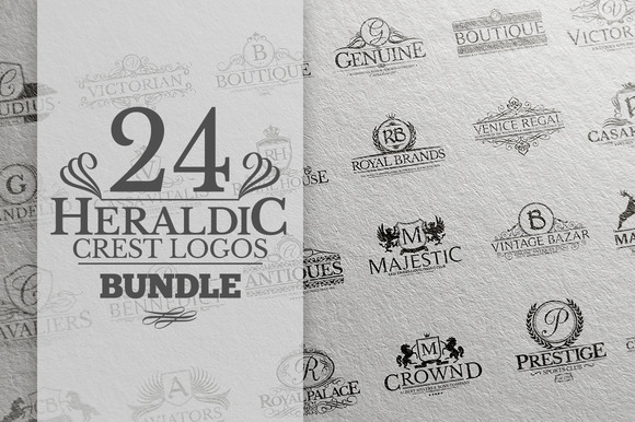 24 Heraldic Crest Logos Bundle