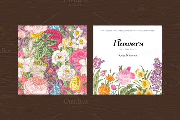 Summer Vintage Floral Card Set