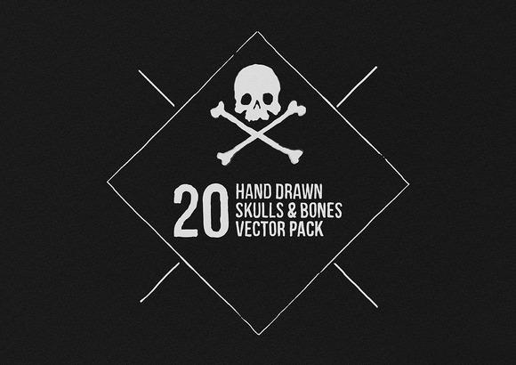 Hand Drawn Skulls Bones Vectors