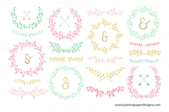 Laurel Wreath Ampersand Vectors
