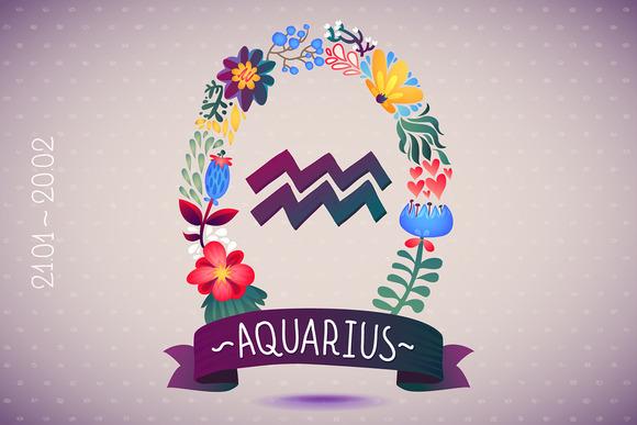 Zodiac Sign AQUARIUS Floral Wreath