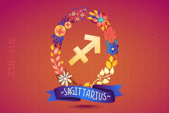 Zodiac Sign SAGITTARIUS In Wreath
