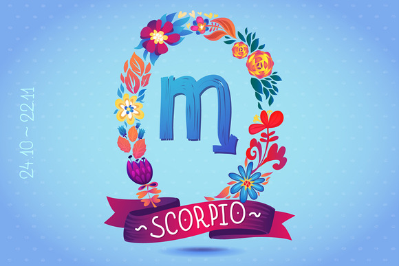 Zodiac Sign SCORPIO In Wreath