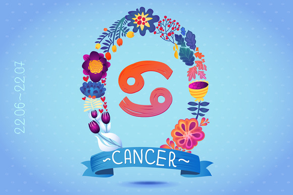 Zodiac Sign CANCER In Floral Wreath