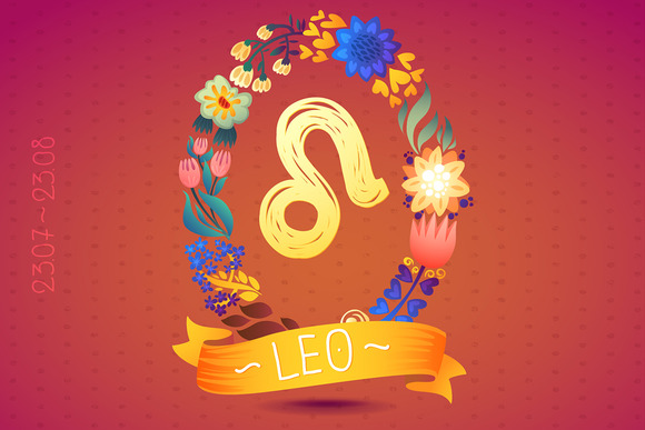 Zodiac Sign LEO In Floral Wreath