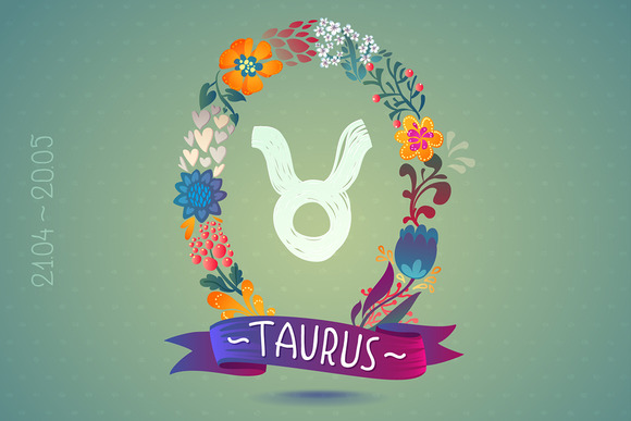 Zodiac Sign TAURUS In Floral Wreath