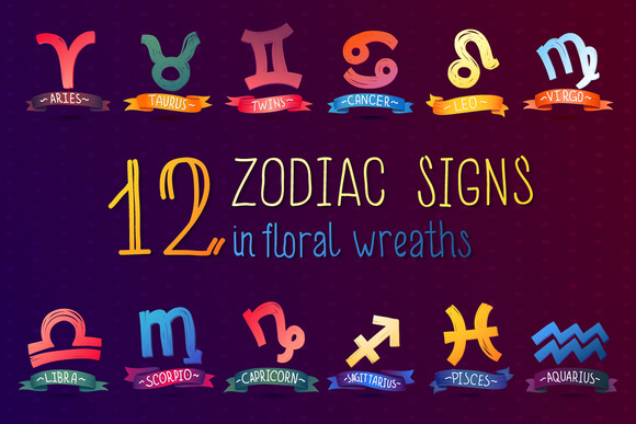 Zodiac Sign Set In Floral Wreaths