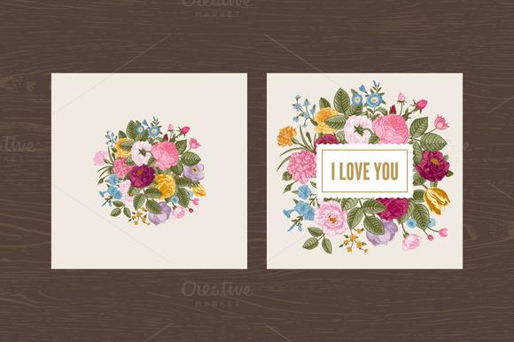 Set Vintage Floral Card Love