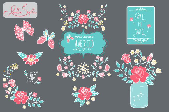 Mason Jar Roses Wedding Clipart
