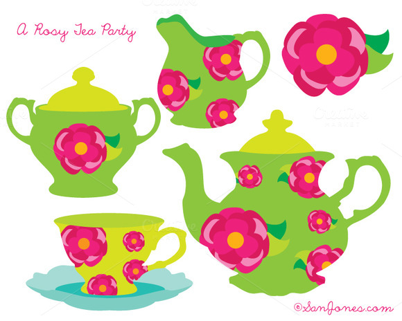 Tea Party Clip Art Roses Florals
