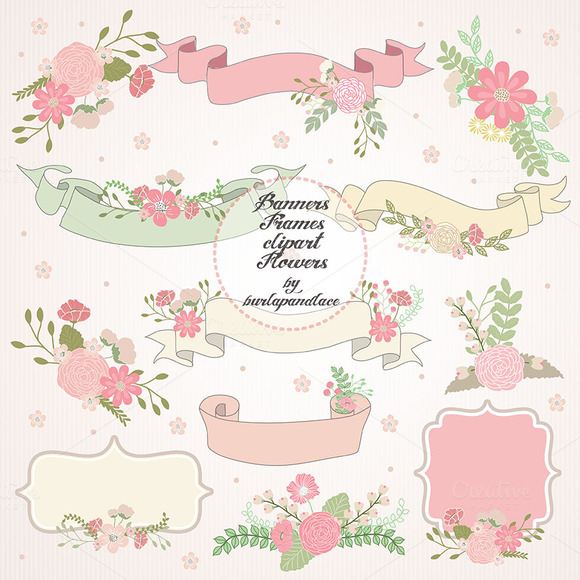 Wreath Banner Flower Clipart