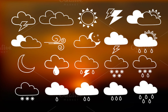 20 Hand Drawn Weather Icons