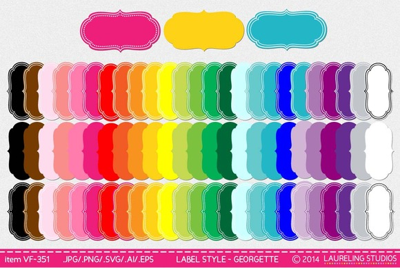 Vector Frame Label Set 75 Frames