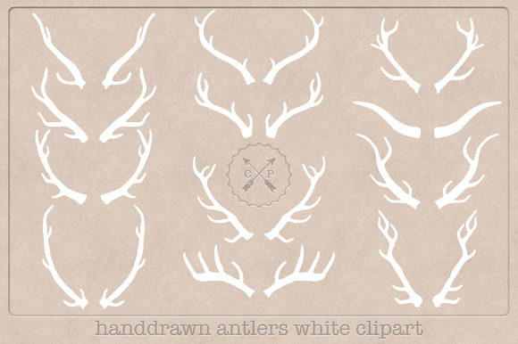 Hand Drawn Antlers Clipart