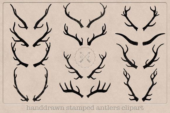 Hand Drawn Stamped Antlers Clipart