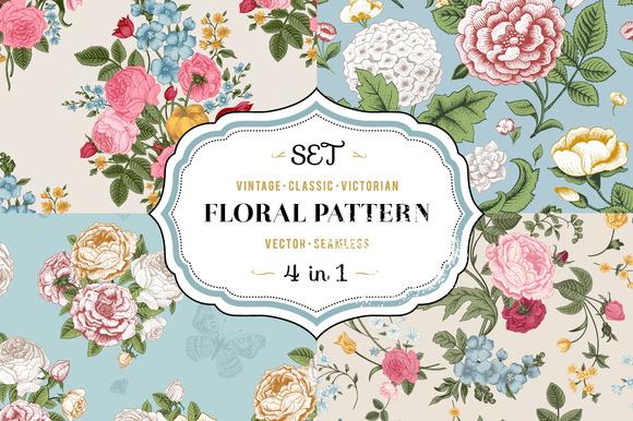 Vector Vintage Floral Pattern Set