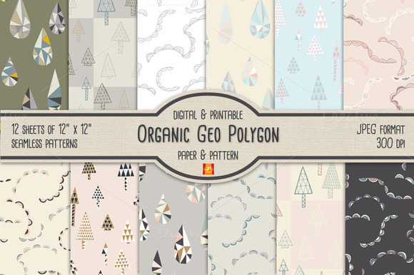 Geo Polygon Digital Paper Pattern