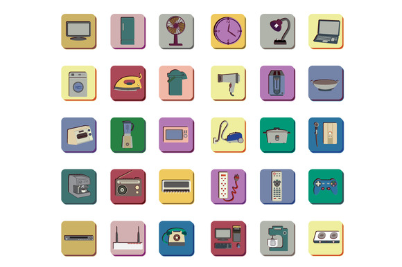 Icon Set Of Electronic Appliances