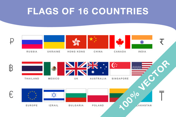 Flags And Currencies Of 16 Countries