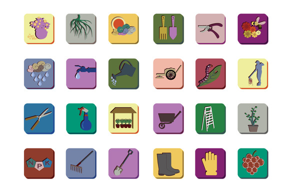 Icon Set For Gardening