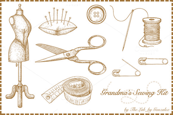 Grandma S Sewing Kit-Hand Drawn Icon