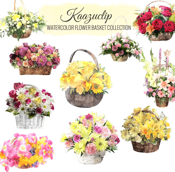 Watercolor Flower Basket Collection