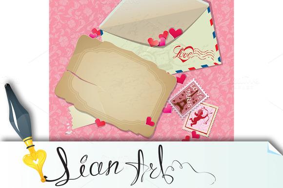 Vintage Postcard Envelope Stamps