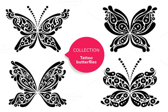 Tattoo Butterflies Vector Set