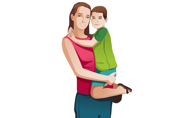 Mom Holds Son On Hands