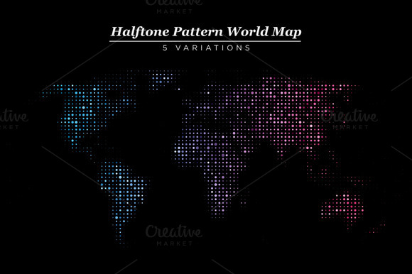 Abstract Halftone World Maps