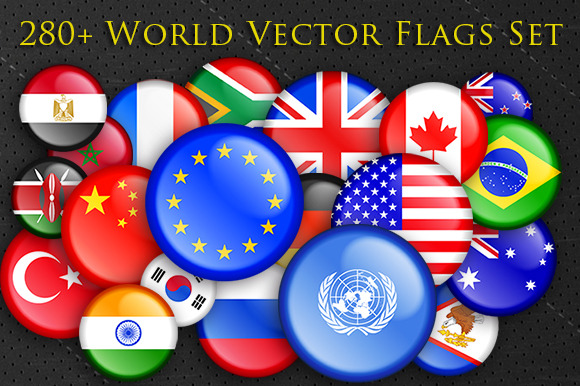 280 World National Flags Buttons