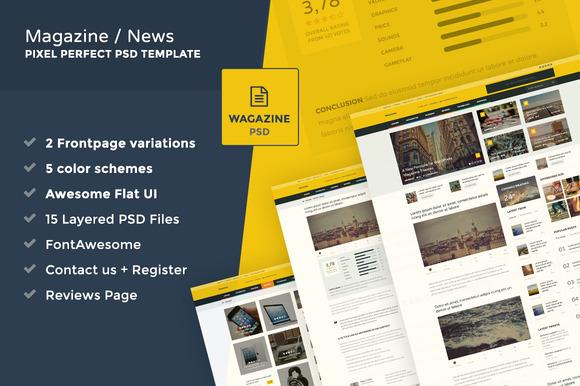 Wagazine Online Magazine PSD Theme