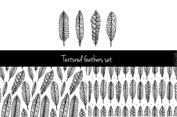 Textured Feathers Set