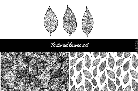 Textured Leaves Set