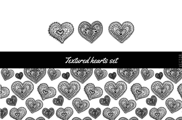 Textured Hearts Set
