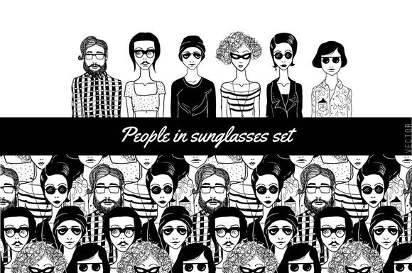 People In Sunglasses Set