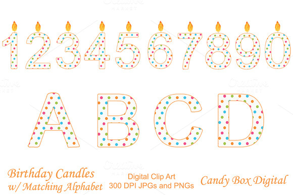 Birthday Candle Clip Art W Alphabet